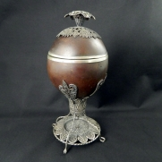 3843.Coconut Etrog Box With Silver Filigree c.1900