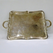7082.Handcarved silver tray 1880 Moscow