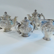 6408.Silver Coffee And Tea Set Service c.1940